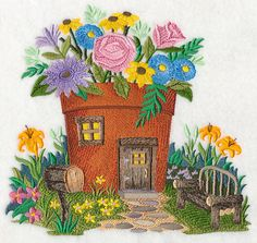 Fairy Garden House design (M3696) from www.Emblibrary.com