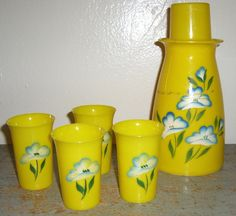 Vintage Cups Pitcher & Tumbler Set Yellow  Blue by TheBackShak, $17.00