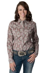 Panhandle Slim® Women's Grey with Lavender Print Long Sleeve Western Shirt | Cavender's