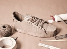 adidas originals handcrafted out of cardboard by chris anderson - designboom | architecture