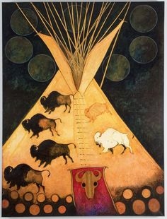 """White Bison Tipi - by """"Kevin Red Star: Crow Indian Artist"""""""
