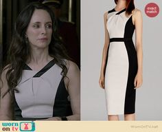 Victoria's black and white twist neck dress on Revenge. Outfit Details: http://wornontv.net/39202/ #Revenge