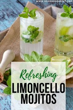 There is nothing more refreshing on a hot day than a mojito, and this Limoncello Mojito recipe is no exception! With only a few ingredients, you're on your way to a delicious limoncello mint mojito! Refreshing Cocktails, Summer Cocktails, Cocktail Drinks, Fun Drinks, Cocktail Recipes, Beverages, Dinner Recipes, Limoncello Cocktails, Thyme Recipes