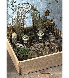 Do it yourself miniature garden container is perfect for fairy gardens, barnyard and themed miniature gardens. The Wooden Fairy Garden Container B Fairy Garden Plants, Mini Fairy Garden, Fairy Garden Houses, Fairy Gardening, Fairies Garden, Glass Garden, Gardening Tips, Wooden Garden Boxes, Fairy Box