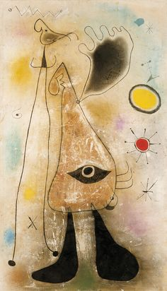 1942 Figures in Front of the Sun charcoal pencil, gouache, India ink and pastel on paper 103 x 60 cm Fundació Joan Miró, Barcelona Spanish Painters, Spanish Artists, French Artists, Joan Miro Paintings, Sun Drawing, Modern Art, Picasso, Abstract Art, Drawings