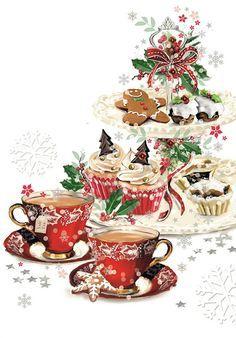 Christmas Topper, Christmas Scenes, Noel Christmas, Vintage Christmas Cards, Christmas Images, Christmas Greetings, Winter Christmas, Christmas Crafts, Christmas Decorations