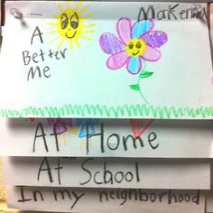 "Practicing good citizenship flip book. ""A Better Me""  Each page ""At Home"", ""At School"", and ""In My Neighborhood"" contains an illustration and a sentence explaining how they can be ""A Better Me"". Ex: I can clean up my messy room. I can help friends carry books. I can recycle my water bottles. Very neat way to teach students how they can be a good citizen in their community."