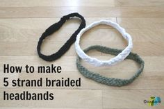 5 strand braided headband ecokaren Strand Braided 'T-Shirt' Headband Tutorial~ Headband Tutorial, Headband Pattern, Diy Headband, Sewing Crafts, Sewing Projects, Craft Projects, Diy Crafts, Braided T Shirts, 5 Strand Braids