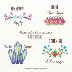 Hand painted ethnic logotypes Free Vector