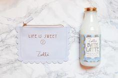 beauty, makeup, woman, product, inspiration, inspo, zoella, sweet inspiration, bag, bath latte