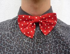 printed leopard shirt and bow tie.