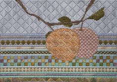 Sep 5, 2018 - Peaches by Jennifer Riefenberg Embroidery ~ 8 x 10 #colourcomplements #stitchdesign #stitchpattern