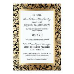 Bachelorette Party | Golden Floral Damask on Black Card