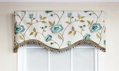 Bonita Cornice Valance in oyster is embraced by embroidered flowers and lavish trim   RLF Home
