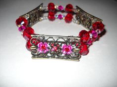 Pink and Red Flower and Crystal Bar Spacer Stretch by danielleh08, $12.00