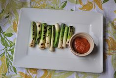 Grilled Baby Leeks with Romesco Sauce and the Scoop