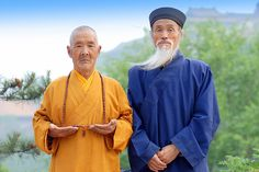 Buddhist Monk and Taoist Priest, Mount Wutai Shanxi, China