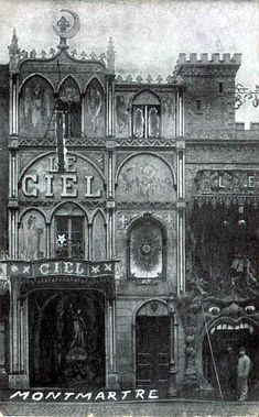 """""""Heaven"""" & """"Hell"""" side by side cafés in Montemare, Paris early 1900s."""