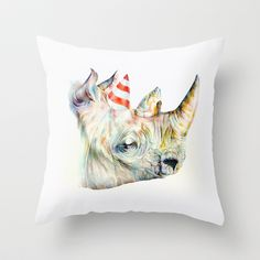 Rhino's Party Throw Pillow