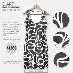 Drops of Black...  #abstract #organic #shapes #paisley #monochrome #stylish #sleek #fashion #curves #drops #trendy #fashiondress #dress #womandress #simpledress #liveheroes #digitalartcreations
