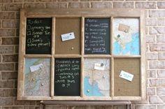 chalkboards, maps on old window