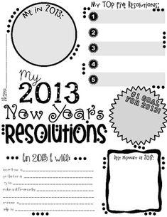 My 2013 New Year's Resolution Activity Poster Freebie - Valerie Noles - TeachersPayTeachers.com