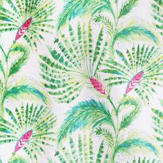A fan palm tree fabric in lime and grass green, hibiscus pink and ocean blue on a white background. Suitable for upholstery, drapery, curtains, roman blinds, curtains etc.