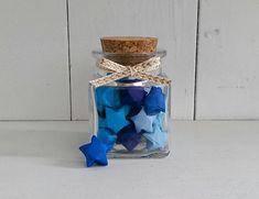Square Jar of Blue Origami Stars by oddsNevens on Etsy