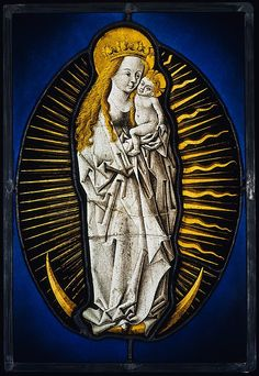 A painted glass portrayal of the Virgin of the Apocalypse, c.1480-90, Circle of the Master of the Amsterdam Cabinet, made in the middle Rhine area of Germany. (Metropolitan Museum of Art)