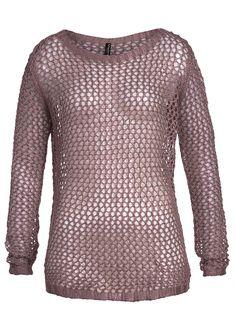 Madonna Strick Pullover grobes Häkelmuster Rundhals 85-0005Y-D scene rosa kaufen | 77Store