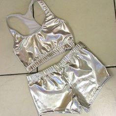 silver metallic sports bra and hot pants