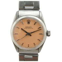 "Rolex Steel Midsize Oyster Perpetual ""Summer Peach"" Dial c.1958  switzerland  1950s    #Rolex #watch"