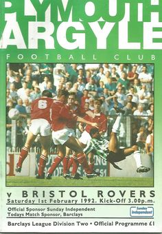 Plymouth 0 Bristol Rovers 0 in February 1992 at Home Park. The programme cover #Div2
