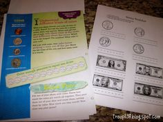 Has link to money worksheet pdf. Girl Scout Troop 1138: Investiture, Rededication & Money Counts