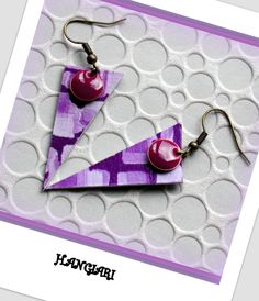 Boucles d'oreilles triangulaires violettes~Boucles d'oreilles originales…