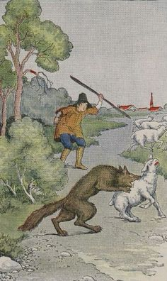 """The Boy Who Cried Wolf "" Art  by Milo Winter - From The Classic Aesops Fables Collection - Germany (1845)"