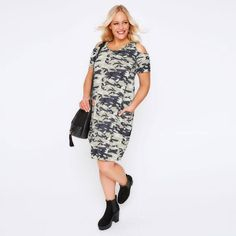Plus Size Casual Camouflage Cold Shoulder Dress
