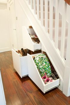Smart storage Solutions - Spring clean your home with a Clever Closet. Loft Spaces, Storage Spaces, Small Spaces, Small Space Interior Design, Small House Design, Clever Closet, Stair Storage, Hidden Storage, Closet Storage