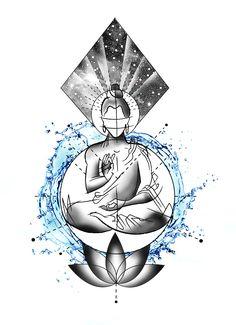 Designer: Andrija Protic You are in the ri - Buddha Tattoo Design, Buddha Tattoos, Circle Tattoo Design, Circle Tattoos, Body Art Tattoos, Tattoo Drawings, Tattoo Ink, Buddha Lotus Tattoo, Circle Design