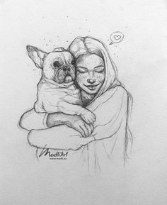 Sketches Of People, Drawing People, Realistic Drawings, Cute Drawings, Girl Drawing Sketches, Pencil Sketch Drawing, Girl Sketch, Pet Pug, Arte Sketchbook