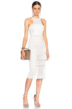 Image 1 of self-portrait Striped Mesh Dress in White & Nude