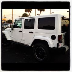 My husband traded in his white Jeep Wrangler for me and my daughter when I met him. Someday I'll buy him one <3