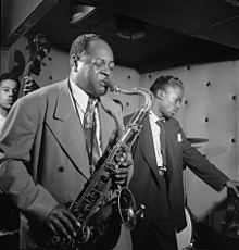 Coleman Hawkins with Miles Davis at Three Deuces on 52nd Street in NYC, ca. July 1947. Photo: William P. Gottlieb.