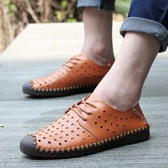 hot new hollow ventilating-Leather Men-s shoes fashion front tie driving business shoes leisure