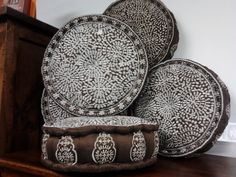 Small emroidered seat/throw cushions- various colours Throw Cushions, Ottomans, Wicker, Decorative Plates, Colours, Chair, Furniture, Home Decor, Recliner