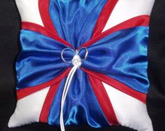 Red & Blue Wedding Ring Bearer Pillow White or Ivory