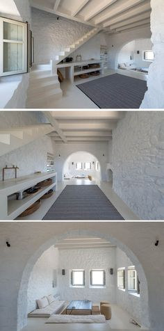 A Respectful Contemporary Update For A Historic House In Greece (paredes de piedra blanca) Contemporary Interior Design, Contemporary Architecture, Home Interior Design, Interior And Exterior, Architecture Design, Contemporary Apartment, Contemporary Office, Contemporary Building, Contemporary Wallpaper