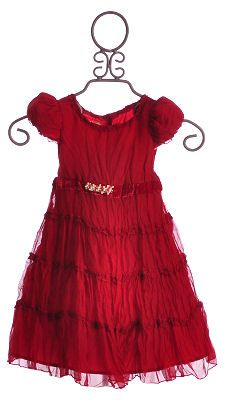Biscotti Scarlet Red Crinkle Tiered Dress for Little Girls $39.00