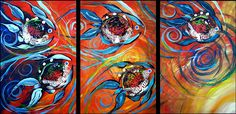 Modern Abstract Fish Art. Acrylic on stretched canvas, three 24x36 inch panels (36x72 inches total)