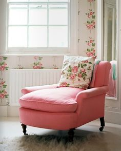 Shabby Chic Pink Sofa Lounge Chair with Pink Rose Pillow and Pink Roses Wallpaper